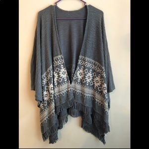 Gray open front poncho